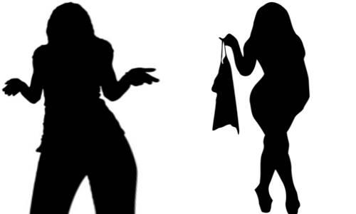 Silueta de duas mulheres, uma fútil