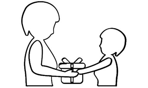 DIA DAS MÃES -  Filho entregando presente