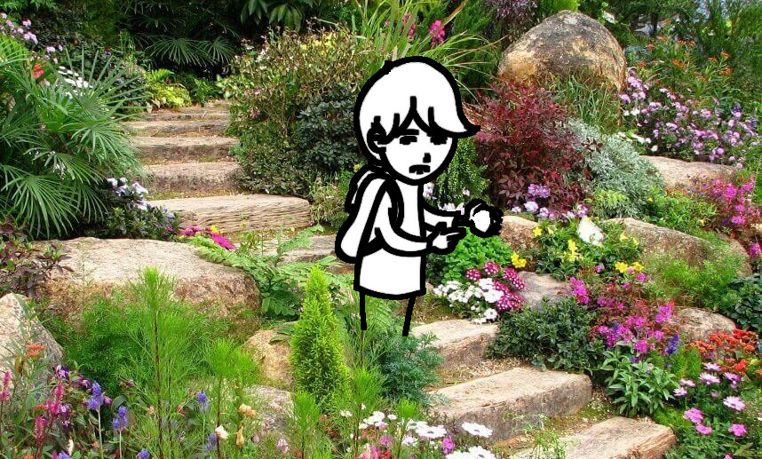 Menino triste no jardim
