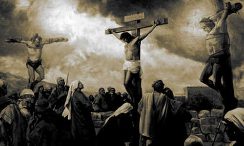 Jesus e os 2 ladrões na cruz