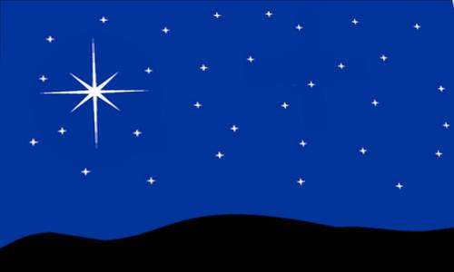 Céu com uma estrela brilhante