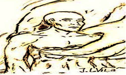 Um homem sendo moldado no barro