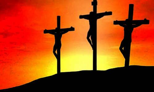 As 3 cruzes, Jesus no meio