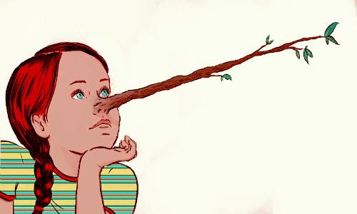 A MENTIRA - Menina com o nariz crescido