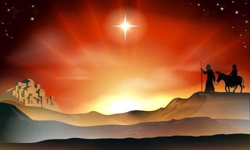Maria no jumento e o José chegando em Belém