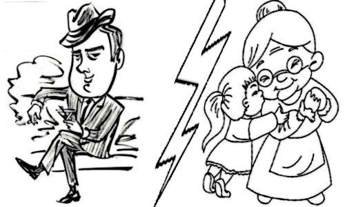 Homem astuto e criança protegida por uma avozinha