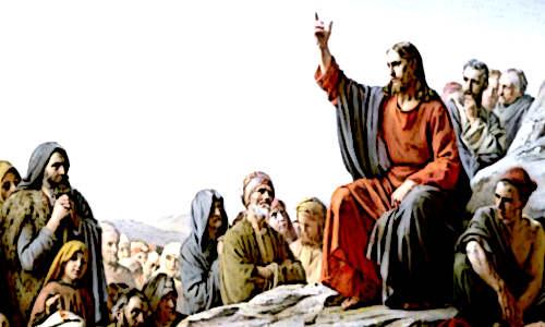 Jesus falando pra multidão