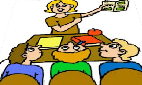 Uma professora e seus alunos