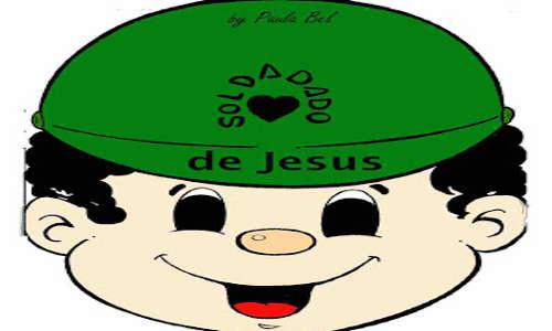 SOLDADO DE JESUS - desenho de um menino com boné de soldado