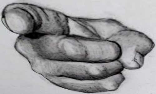 Uma mão apontando para você