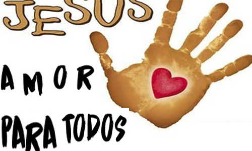 JESUS AMOR PARA TODOS - Uma mão, no local da cicatriz do prego há um coração