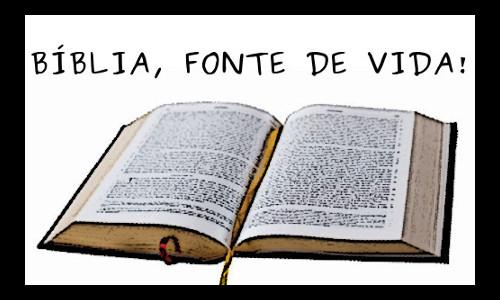 BÍBLIA, FONTE DE VIDA! Escrito acima da imagem de uma Bíblia aberta