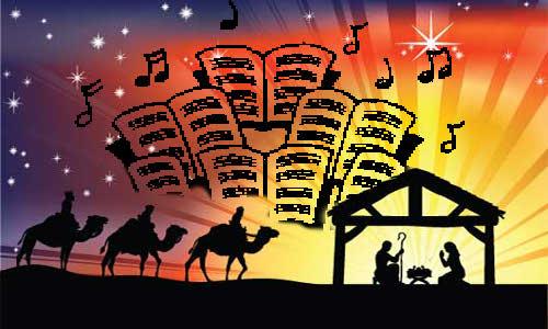 Sábios, presépio, Jesus, José, Maria símbolos musicais e partituras