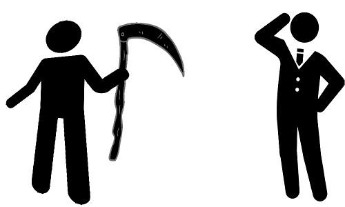 Dois bonecos, um de gravata e o outro com uma foice - O EMPRESÁRIO E A MORTE