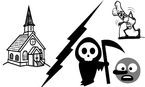 ENTRE O MUNDO E A IGREJA - Desenhos de: Igreja, morte, doença, mentira...