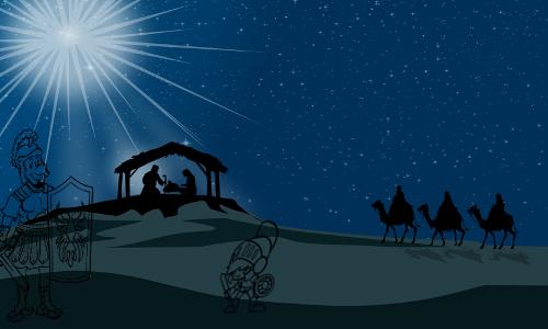 Soldado romano com o filho, ao fundo José, Maria, Estrela... JESUS