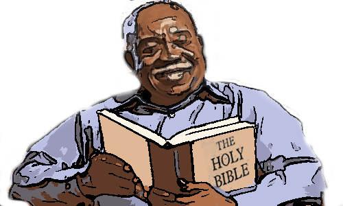 Idoso lendo a bíblia