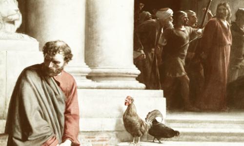 O galo está cantando, Jesus sendo levado pelos soldados e Pedro... A IGREJA NA PÁSCOA